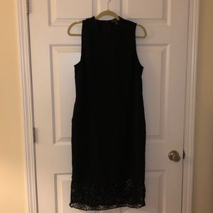Forever21 Black Midi Dress with Lace Detail